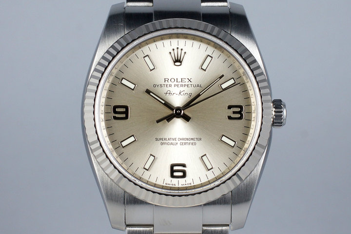 2007 Rolex Air King 114200 Silver 3/6/9 Dial photo