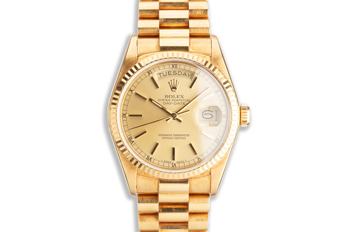 1985 Rolex 18K YG Day-Date 18038 Gold Stick Dial photo, #0