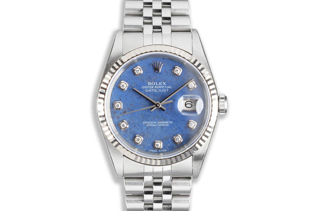 2000 Unpolished Rolex Datejust 16234 Blue Sodalite Diamond Dial photo, #0