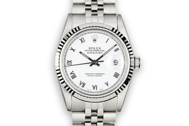 1990 Rolex DateJust 16234 with White Roman Dial photo