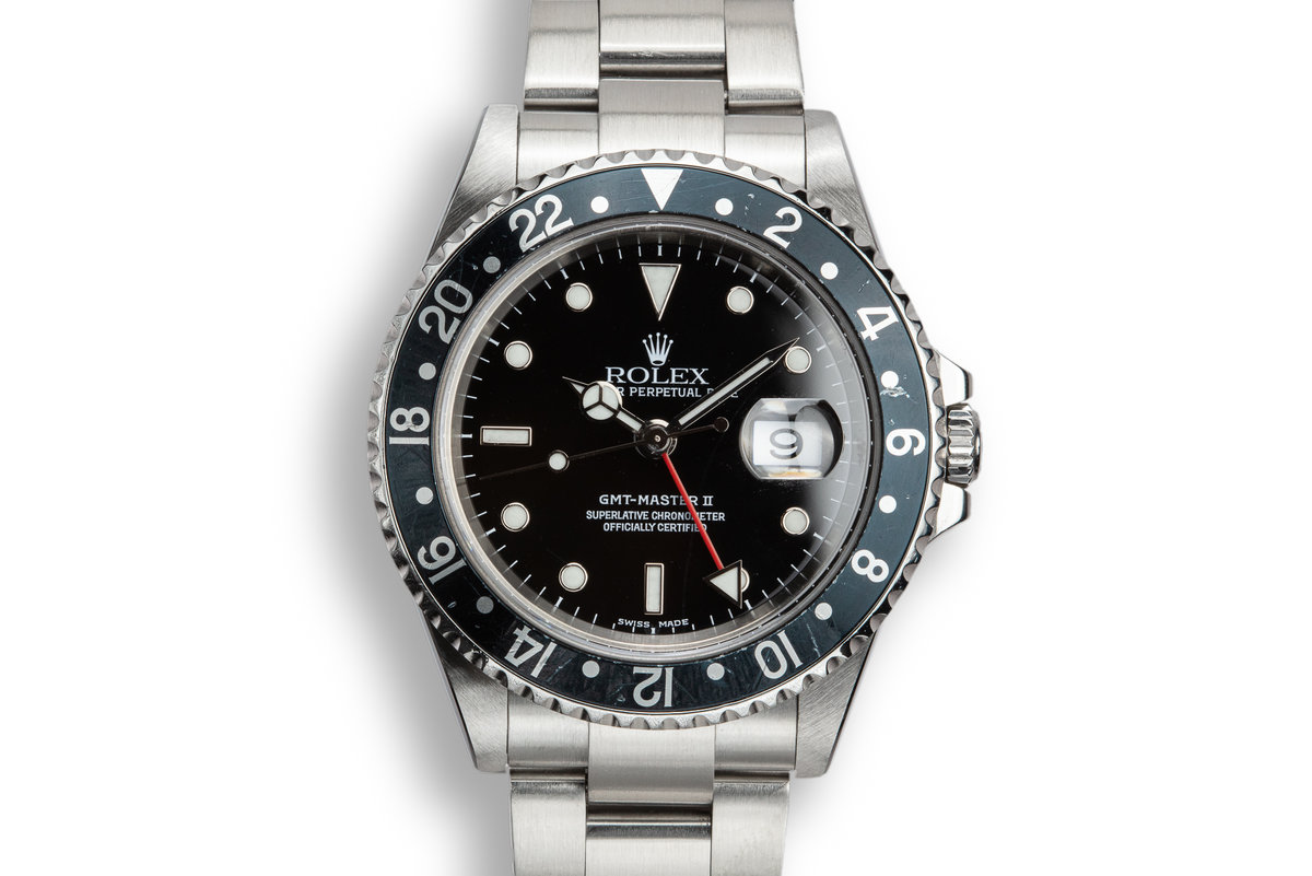 2002 Rolex GMT-Master II 16710 Black Bezel with Box and Papers photo, #0