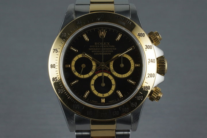 1991 Rolex Two Tone Zenith Daytona 16523 with Inverted 6 Black Dial photo