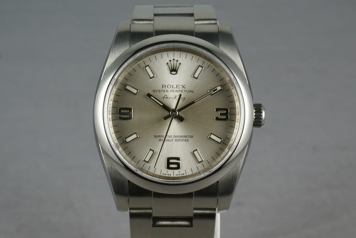 Rolex Air-King M serial 114200 Silver 3-6-9 dial with papers photo