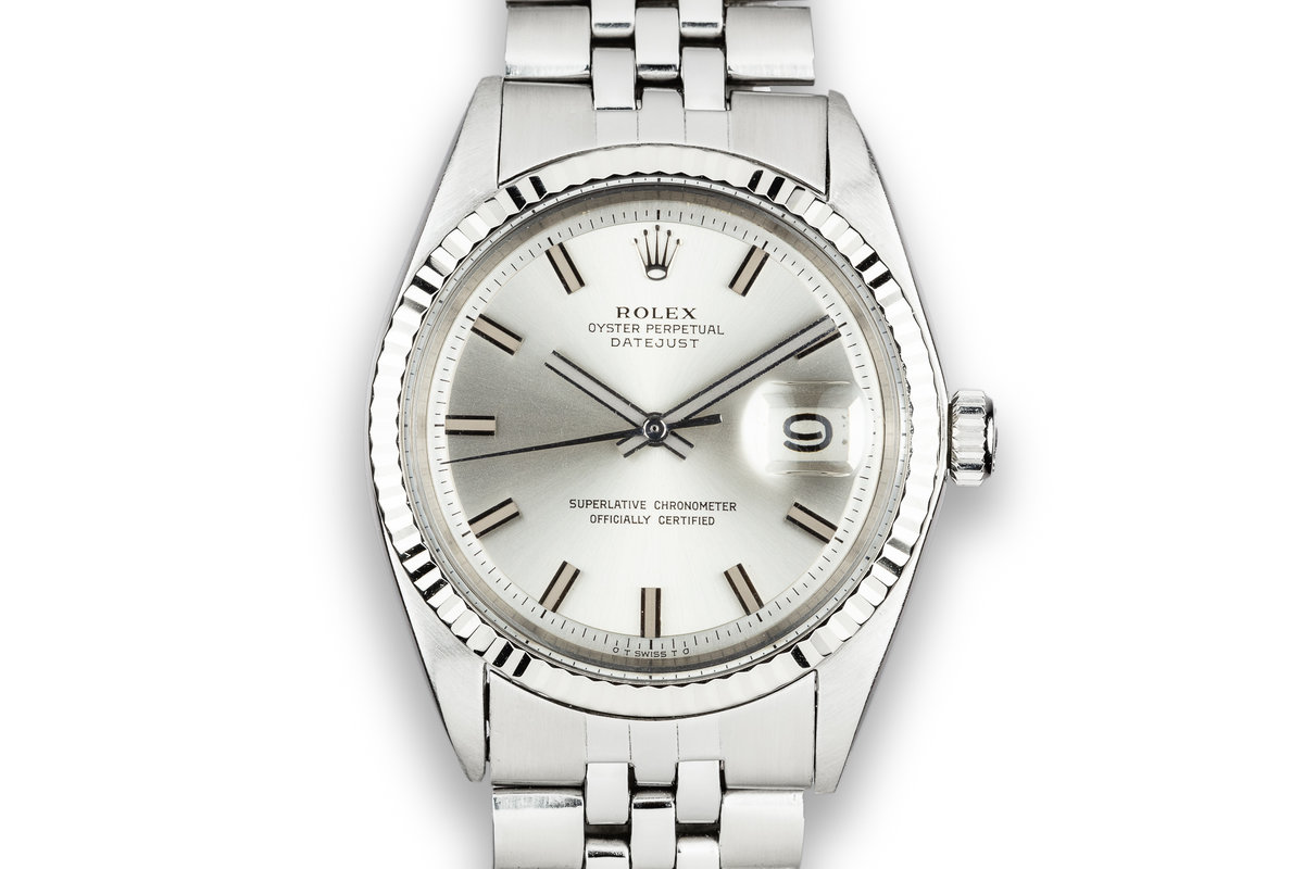 1972 Rolex DateJust 1601 with No Lume Silver Wideboy Dial photo, #0