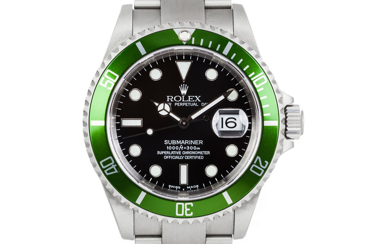 "2002 Rolex Green Submariner ""Y Serial"" 16610LV with Box and Papers photo"