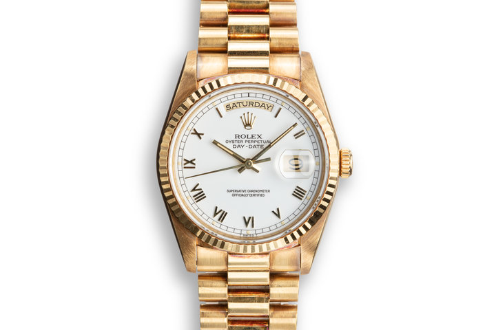 1989 Rolex 18K YG Day-Date 18238 with White Roman Numeral Dial photo