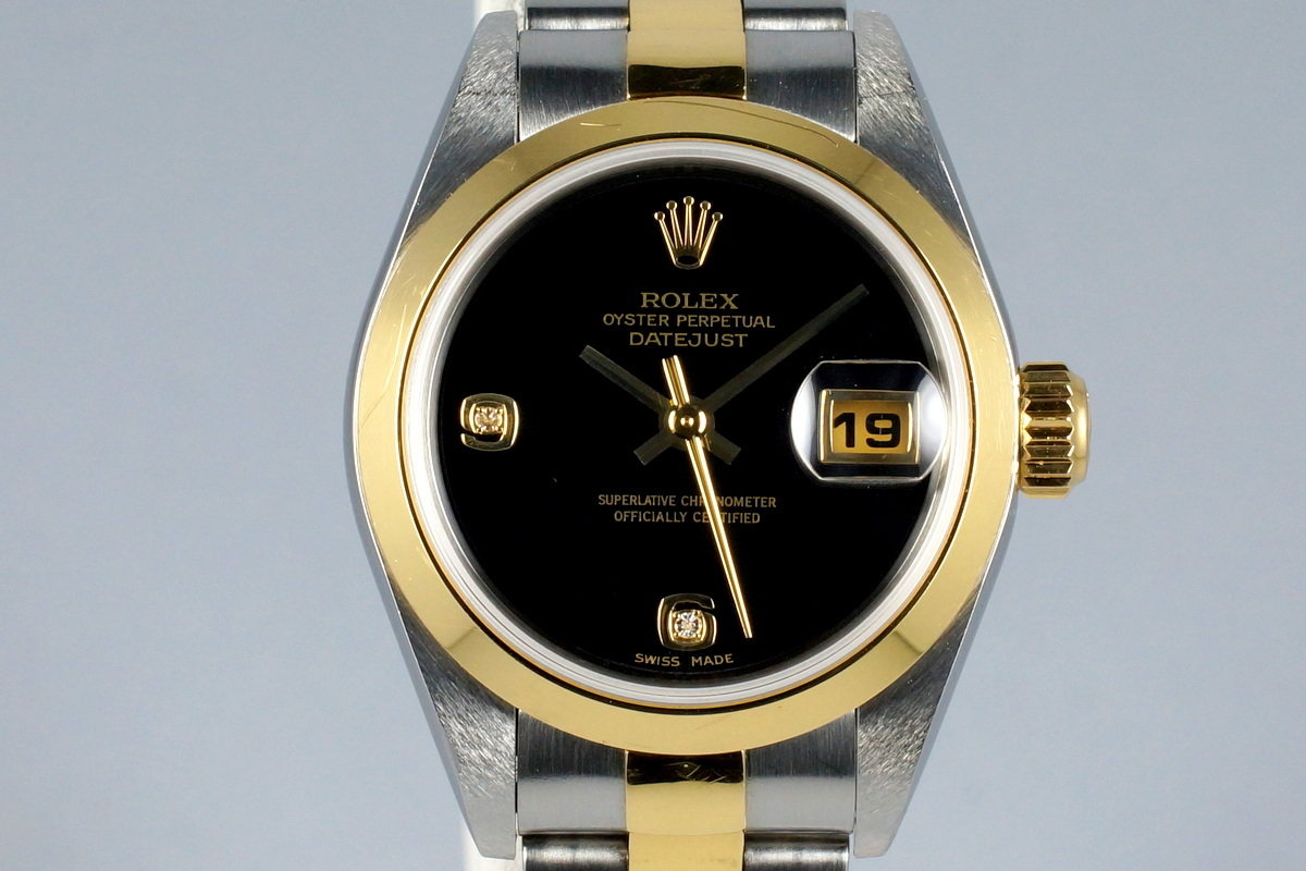 2002 Rolex Ladies Two Tone DateJust 79163 Onyx Dial with Box and Papers photo, #0