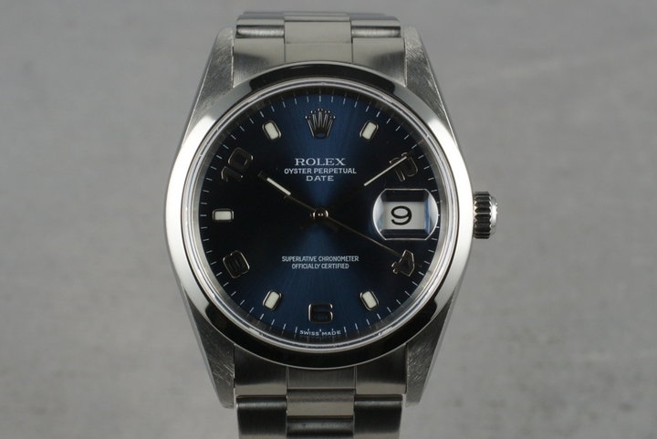 2002 Rolex Blue Arabic Dial Date 15200 With Box & Papers photo