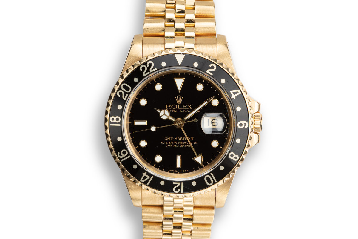 1990 18K YG Rolex GMT-Master II 16718 Black Dial photo, #0