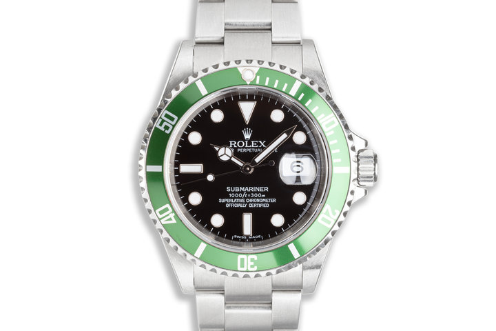 2006 Unpolished Rolex Anniversary Green Submariner 16610LV Box and Papers photo