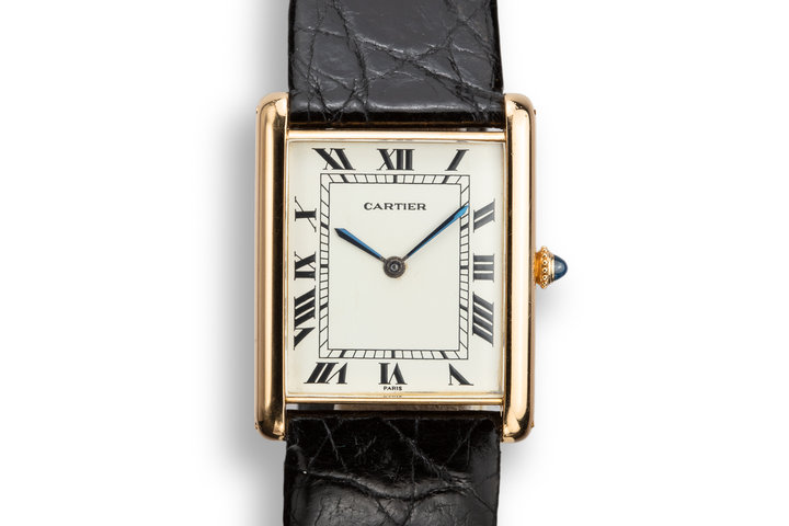 1970's Cartier 18K YG Louis Cartier Tank Jumbo Automatic photo
