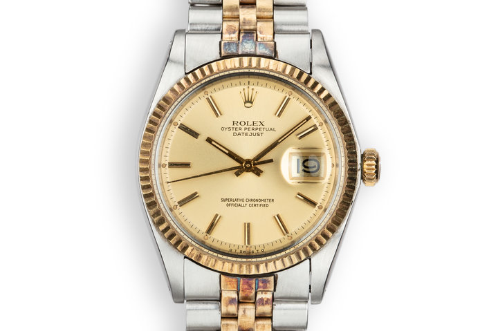 1973 Rolex Two-Tone DateJust 1601 Champagne Sigma Dial photo