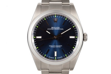 2015 Rolex Oyster Perpetual 114300 Blue Dial with Box and Papers photo