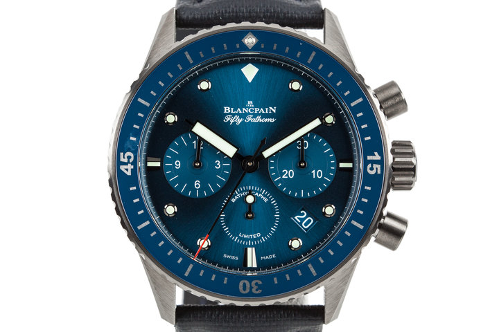 Blancpain Fifty Fathoms Bathyscaphe  Ceramic Flyback Chronograph Ocean Commitment 07825 with Box and Papers photo