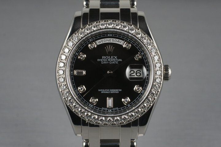 2006 Rolex Platinum Masterpiece Day-Date 18946 Black Diamond Dial and Box and Papers photo