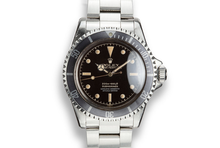 1959 Rolex Pointed Crown Guard Submariner 5512 with 4 Line Gilt Chapter Ring Exclamation Dial photo