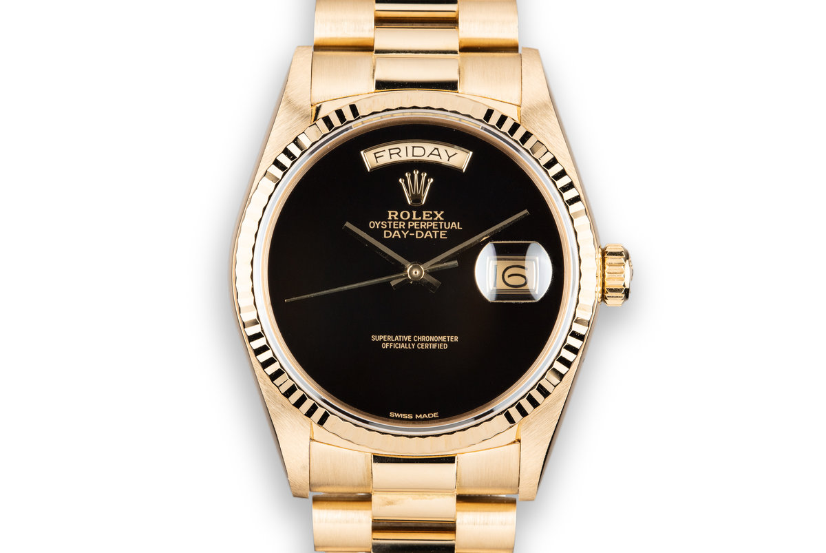 1986 Rolex 18K YG Day-Date Onyx Dial photo, #0