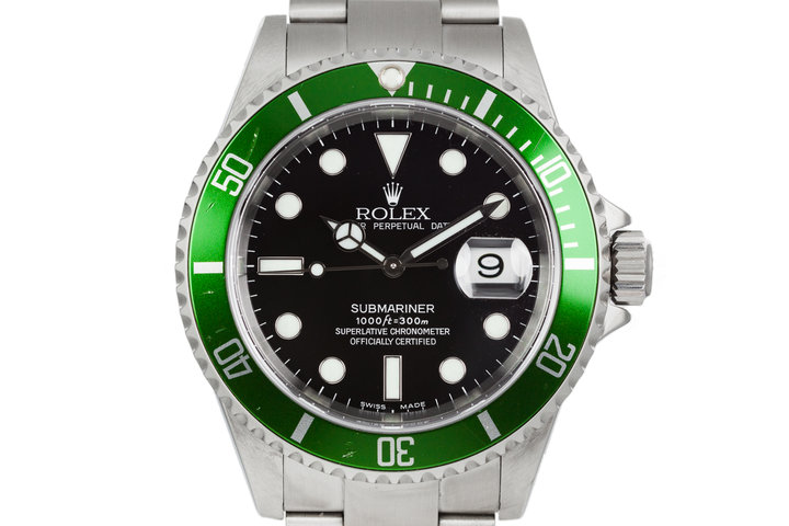 2003 Rolex Submariner 16610LV with Flat 4 Green Bezel and Rolex Service Papers photo