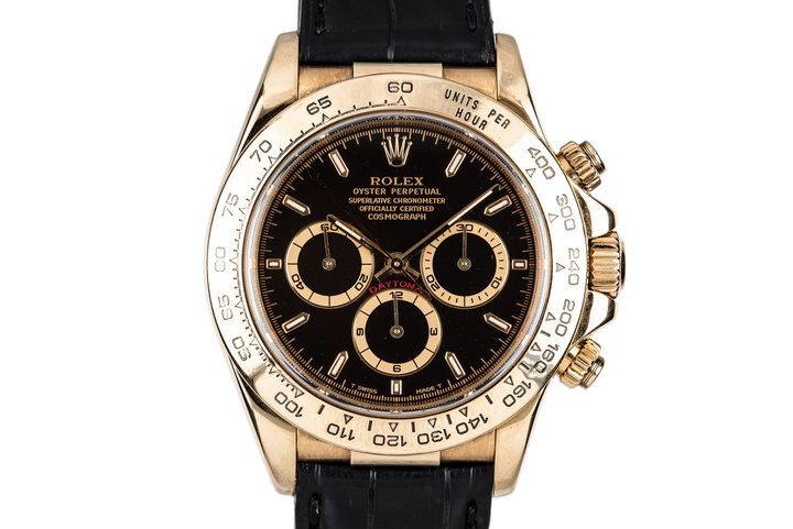 1999 Rolex 18K YG Zenith Daytona 16518 Black Dial photo