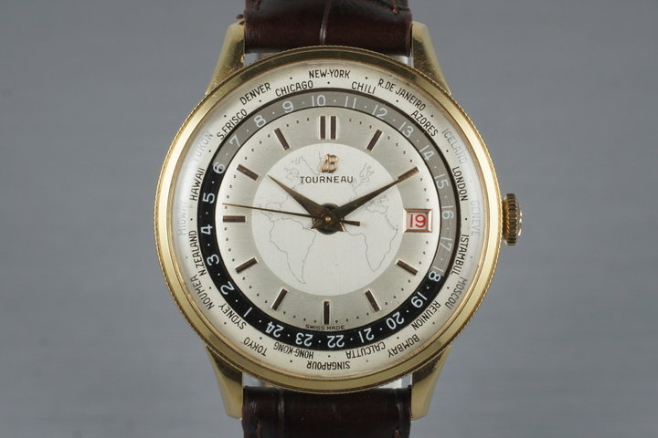1951 Breitling Gold Capped Unitime 1-206 with Tourneau Double Name Dial photo