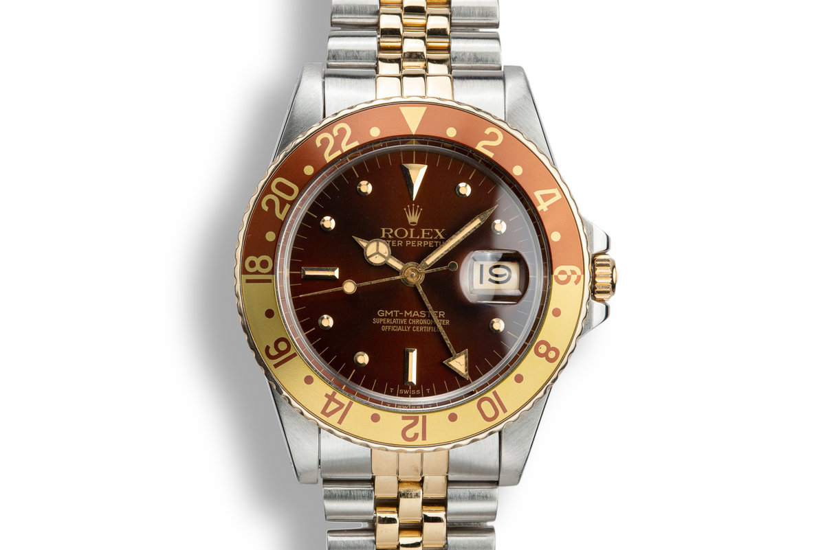 1982 Rolex Two-Tone GMT-Master 16753 Root Beer Nipple Dial with Box and Papers photo, #0