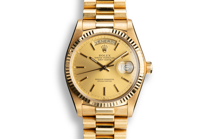 1979 Rolex 18K YG Day-Date 18038 Champagne Dial with Italian Date Disk photo