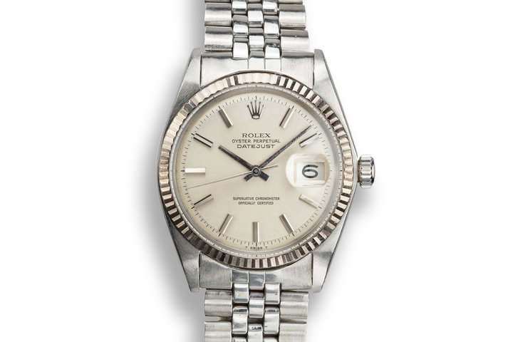 1968 Rolex DateJust 1601 No Lume Silver Dial with Service Papers photo