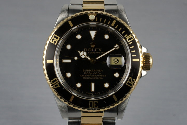 1991 Rolex 18K/SS Submariner 16613 with Box and Papers photo