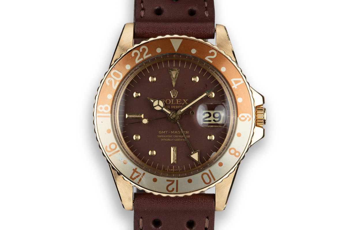 1969 Rolex 18K YG GMT-Master 1675 Matte Brown Nipple Dial photo, #0
