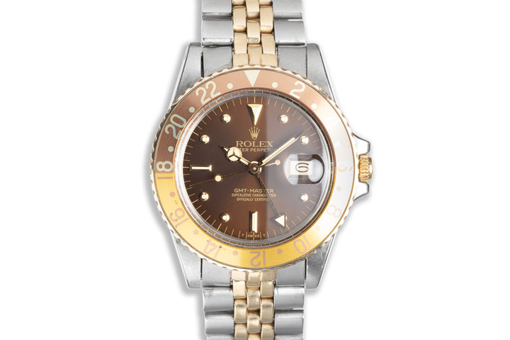 1982 Vintage Unpolished Rolex GMT-Master 16753 with Metallic Brown Nipple Dial and Service Papers photo