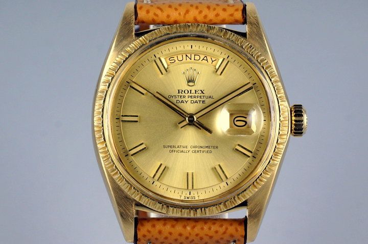 1969 Rolex YG Bark Day-Date 1807 Champagne 'Wide Boy' Dial photo