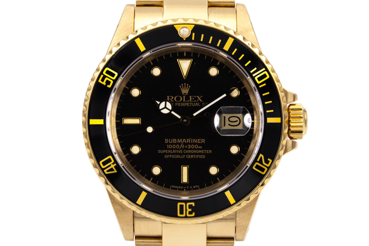 1988 Rolex YG Submariner 16808 Black YG Surround Dial with Box and Papers photo, #0