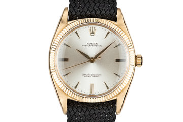 1959 Rolex 18K YG Oyster Perpetual 1013 with SWISS Only Silver Non-Luminous Dial photo