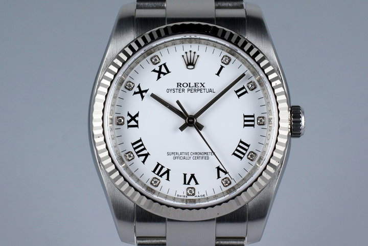 2007 Rolex Oyster Perpetual 116034 Factory White Diamond Dial with Box and Papers photo