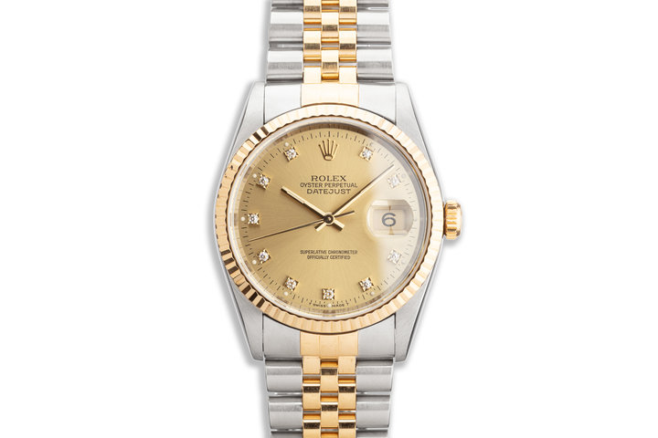 1993 Rolex Two-Tone DateJust 16233 Champagne Diamond Dial Box and Papers photo