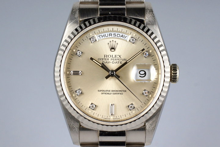 1994 Rolex WG Day-Date 18239 Factory Silver Diamond Dial photo