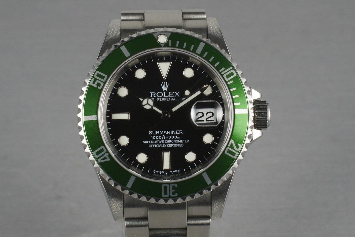 2004 Rolex Green Submariner 16610 LV Mark 1 dial and Mark 2 bezel photo, #0