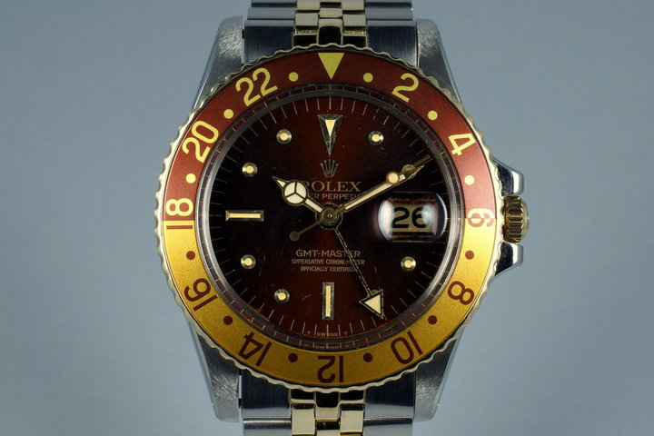1972 Rolex Two Tone GMT 1675 Root Beer Dial with RSC Papers photo