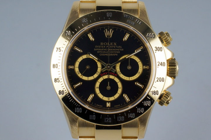 1991 Rolex YG Zenith Daytona 16528 Black Dial photo