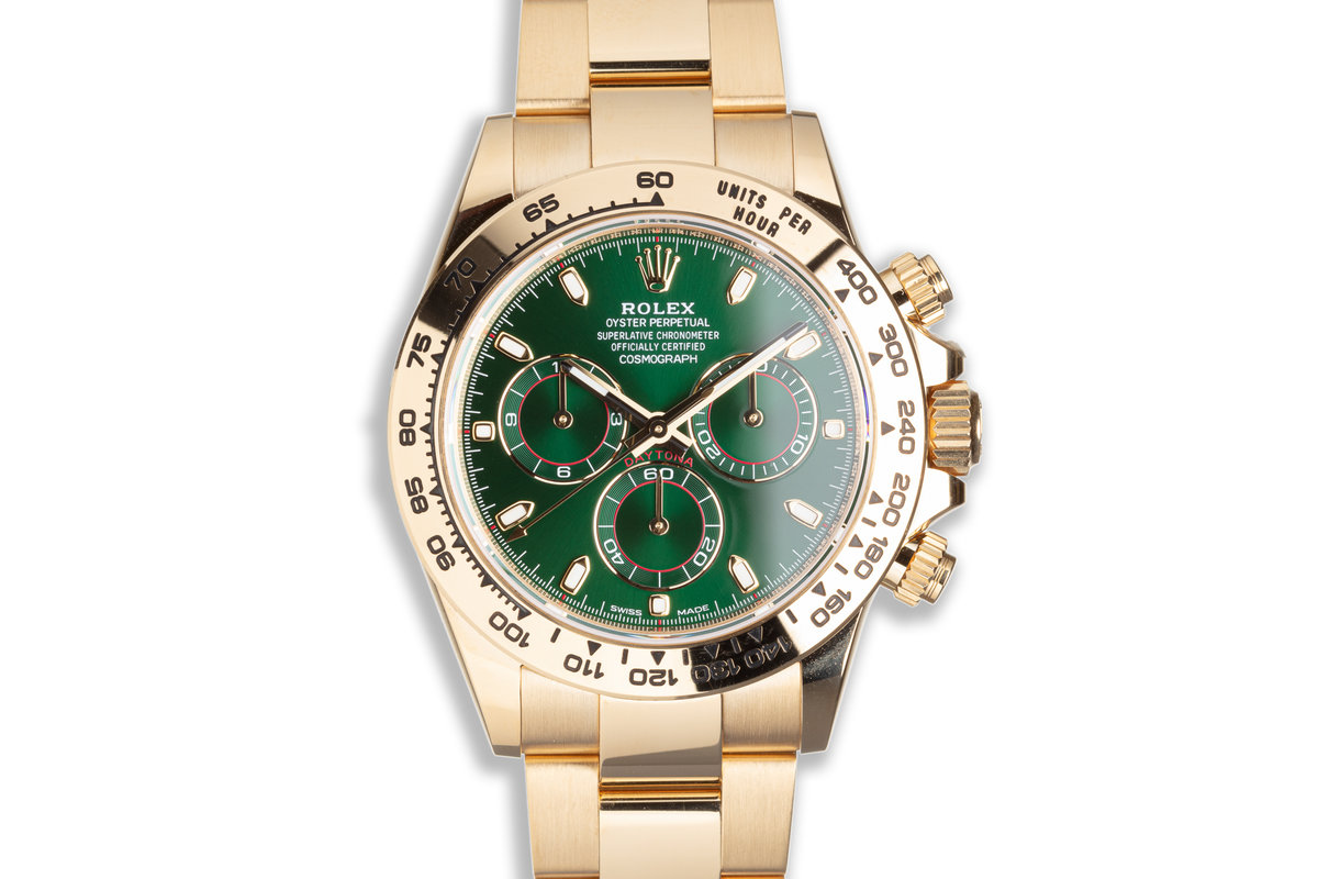 2021 Rolex 18K YG Daytona 116508 Green Dial with Box & Papers photo, #0