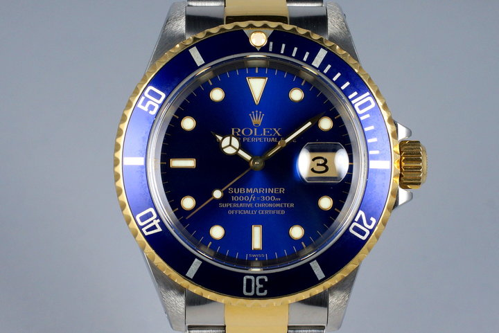 1999 Rolex Two Tone Blue Submariner 16613 with Box and Papers photo