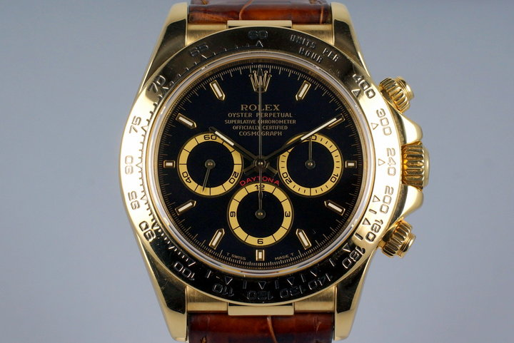 1994 Rolex YG Zenith Daytona 16518 Black Dial photo