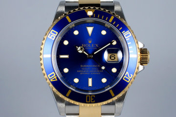 2006 Rolex Two Tone Blue Submariner 16613 photo