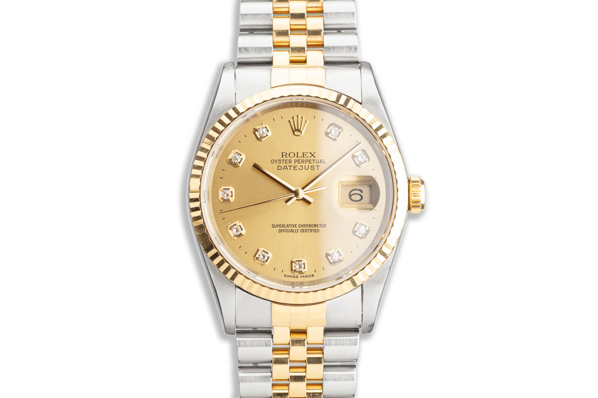2000 Rolex Two-Tone DateJust 16233 Factory Diamond Dial photo, #0