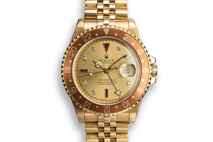 1991 Rolex 18K YG GMT-Master II 16718 with Champagne Serti Dial photo