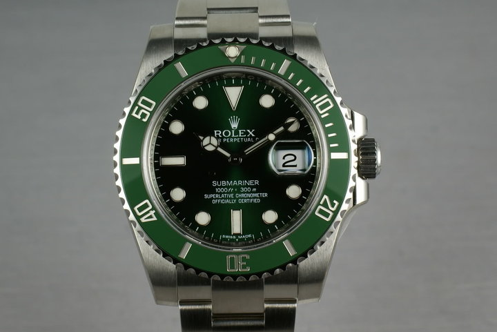 Ceramic Rolex GREEN Submariner 116610V  Box and Papers Brand New photo