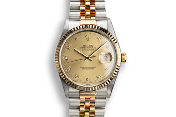 1993 Rolex Two-Tone DateJust 162339 Champagne Diamond Dial with Papers photo