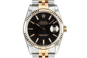 1988 Rolex Two-Tone DateJust 16233 Black Dial with Box and Papers photo