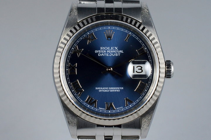 2000 Rolex DateJust 16234 with Blue Roman Dial photo