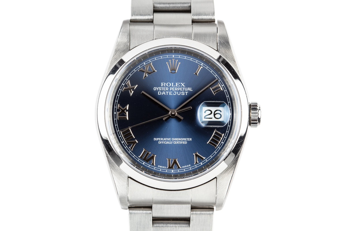 1999 Rolex DateJust 16200 Blue Roman Numeral Dial with Service Papers photo, #0